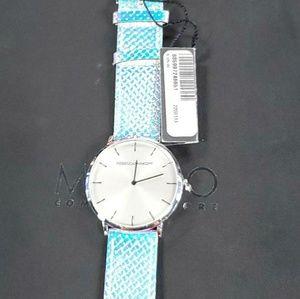 Rebecca Minkoff metallic women's leather watch